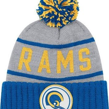 Mitchell & Ness NFL LA Rams Football Knit Beanie Team Game Hat Blue/Grey