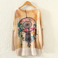 Batwing Long Sleeve Baroque Graphic Print Knit Sweater (Color: Beige) = 1946125828