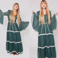 Vintage 70s Emerald Green Bell Sleeve Maxi Dress ALFRED SHAHEEN Boho Goddess