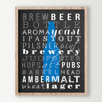 Beer Decor - Beer Poster - Kitchen Wall Decor - Beer Prints Subway Art - Beer Sign - Kitchen Signs - Beer Bottle Wall Art Prints - Beer Art