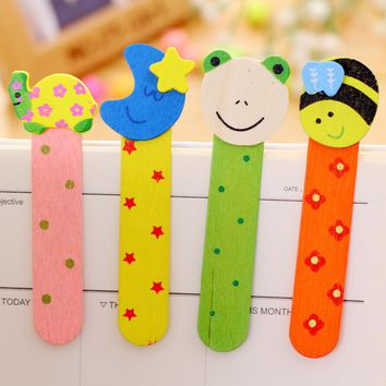 4 pcs/lot Cute Kawaii Frog Bird Wooden Rulers Lovely Strawberry Bookmark Ruler For Kids Korean Stationery Free Shipping 1623