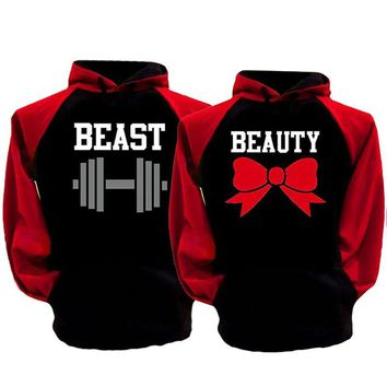2017 BEAST AND BEAUTY Graphic Print Couple Hoodies Black Hooded Lovers Sweatshirt Autumn Sportswear Moletons Baseball Jersey