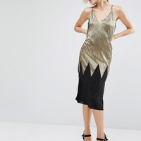 River Island Metallic Pleated Cami Dress at asos.com