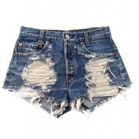 Women's Shredded Vega Vintage Levi's Studded Pocket Ripped Front Denim Shorts