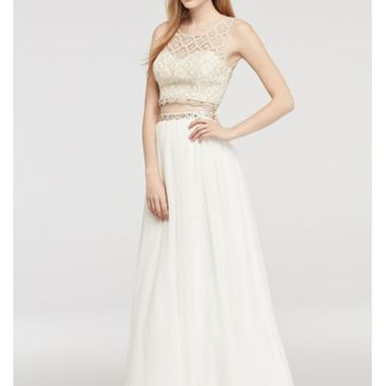 Two Piece Lace Prom Dress with Illusion Neck - Davids Bridal