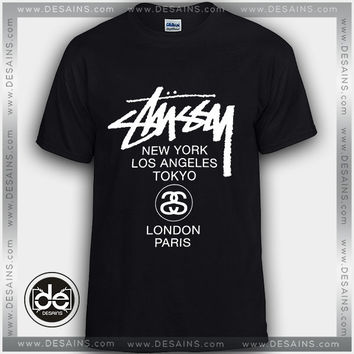 Buy Tshirt Stüssy World Tour Tshirt Womens Tshirt Mens Tees Size S-3XL • Cheap Graphic Tee Shirts