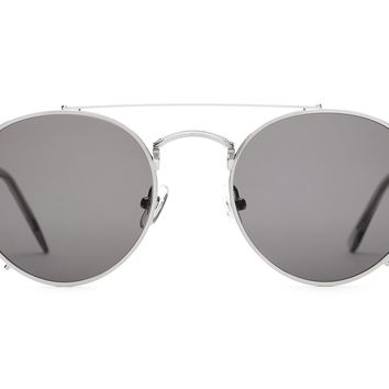 Crap Eyewear - Tuff Safari Brushed Silver + Smoke Sunglasses / Grey Lenses