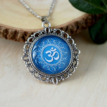 Blue Om Necklace,Silver Plated Pendant,Glass Cabochon Pendant With Chain