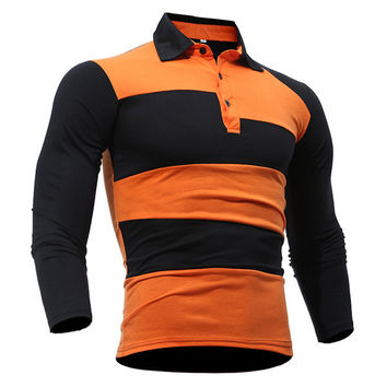 Mens Stripe Printing Long Sleeve Turn-down Collar Slim Fit Casual Polo Shirt