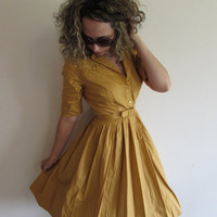 Vintage Mustard Yellow 1950/ 1960s Lace Detailing Day Full Skirt Dress