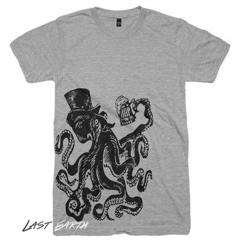 Drunk Octopus Funny Vintage Graphic T Shirt