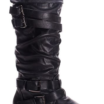 BLACK FAUX LEATHER STRAPPY BUCKLE KNEE HIGH BOOTS