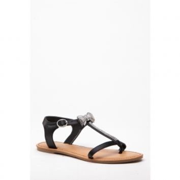 Black Faux Leather Embellished Bow Accent Thong Sandals @ Cicihot Sandals Shoes online store sale:Sandals,Thong Sandals,Women's Sandals,Dress Sandals,Summer Shoes,Spring Shoes,Wooden Sandal,Ladies Sandals,Girls Sandals,Evening Dress Shoes