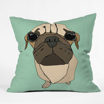 Casey Rogers Puglet Throw Pillow