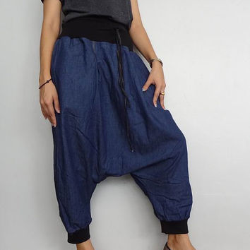 Capri Harem Pants, Genie Drop Crotch Unique Style Boho, Blue Cotton Denim Lightweight (pants-16).