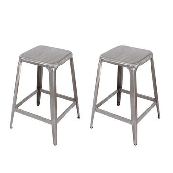 Set of 2 Gunmetal Finish 24-Inch Metal Counter Stools