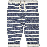 River Island Mini boys blue stripe joggers