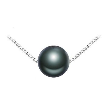 Black Pearl Brand Jewelry Natural Round Tahitian Pearl Charm S925 Sterling Silver Jewelry Charm Necklaces For