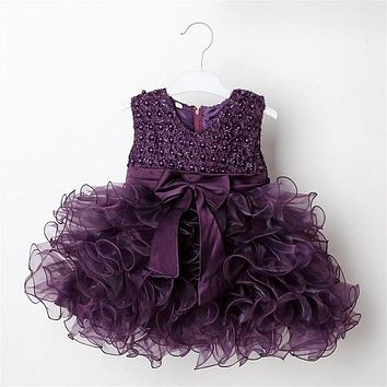 Hot Lace Flower Girl Wedding Girl Dress Baptism Cake Dresses For Party Occasion Of Children 1 Year Girl Birthday Party SQ251