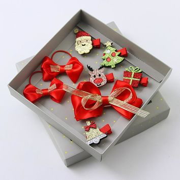 New 1Set=8PCS Christmas Girls Hair Accessories Set Gift Box Packing Cute Red Cartoon Hair Clips Hair Bands Kids Headband Hairpin