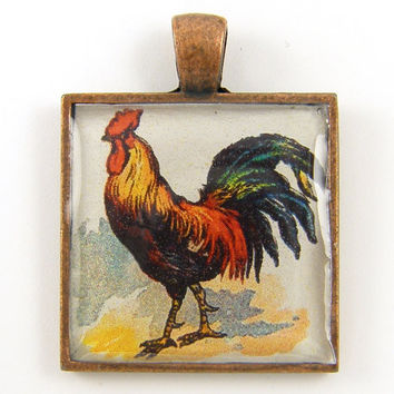 Rooster Pendant - Colorful Farm Animal Copper Jewelry Charm