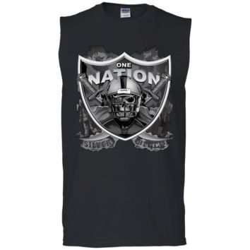 Raiders One Nation Silver & Black G270 Gildan Men's Ultra Cotton Sleeveless T-Shirt