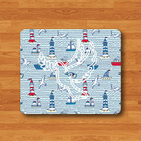 Sailboat Sea Cute Cartoon Seamless Pattern Mouse Pad Bird Peach Sign MousePad Desk Deco Computer Accessory Work Pad Mat Personal Boss Gift