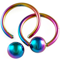 Anodized Surgical Steel Captive Bead Ring [Gauge: 16G - 1.2mm / Diameter: 10mm / Ball Size: 5mm] (Rainbow) // Set of 2