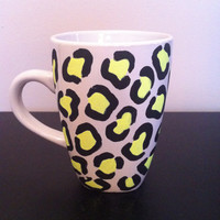 Yellow leopard print coffee cup