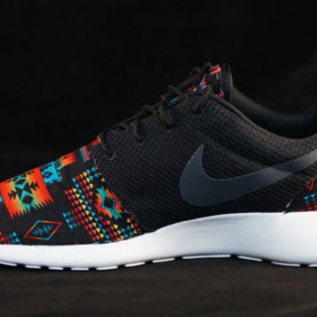New Nike Roshe Run Custom Black Blue Tribal Aztec Edition Mens Shoes Sizes 8 - 15