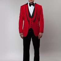 Red 3 Piece Vested Peak Shawl Lapel Tuxedo