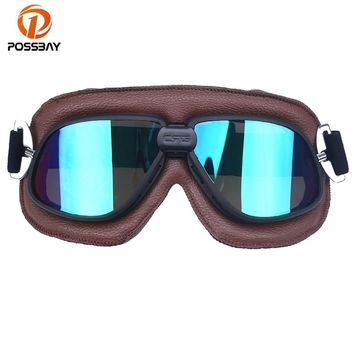 POSSBAY Motorcycle Goggle Ski Goggles Glasses Racing Bicycle Bike Scooter Motocross Steampunk Cruiser Helmet Eyewear Glasses MTB