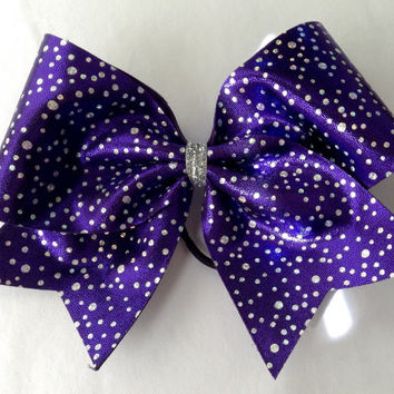 Cheer Bow - Purple with Silver Polka Dots