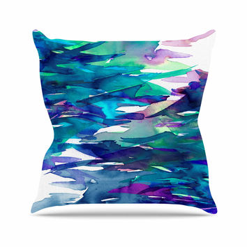 "Ebi Emporium ""Fervor 5"" Blue Teal Outdoor Throw Pillow"