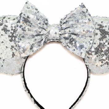 Silver Sequin Ears and Silver Bow