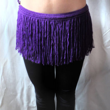 CROCHET FRINGES SKIRT Mini Skirt Belt Summer Festival Crochet Purple Lilac Hippie Belt Crochet Belt Hawaii Skirt Coachella Dance Fringe Belt