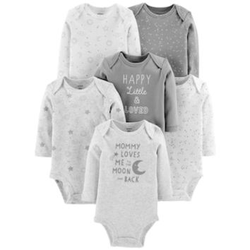 Baby Carter's 6-pack Moon Graphic Bodysuits | null