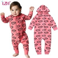 LZH Newborn Baby Clothes Rompers Jumpsuit Kids Girls Boys Hooded Romper Letter French Fries Print Heart Rompers Infant Clothing