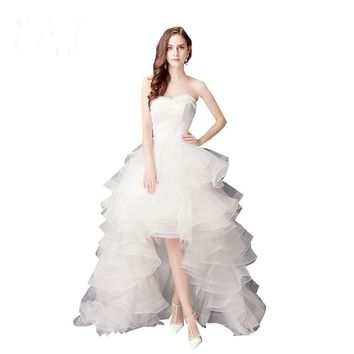 Wedding dress High Low bride royal princess Lace Front Short Long Back train formal dress