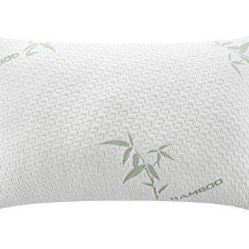 Memory Foam Pillow with Removable Washable Soft Zip Bamboo Fiber Cover - Queen