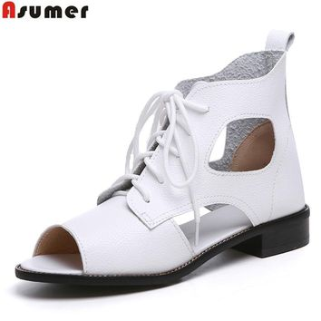 BASUMER size 34-41 new fashion lace up flats women sandals ankle boots cut outs soft pu leather summer boots female shoes woman