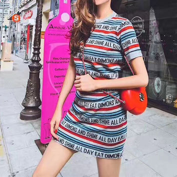 """Balenciaga"" Fashion Letter Multicolor Stripe Short Sleeve Knit T-shirt Mini Dress"
