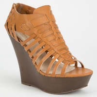 Bamboo Stef Womens Wedges Tan  In Sizes