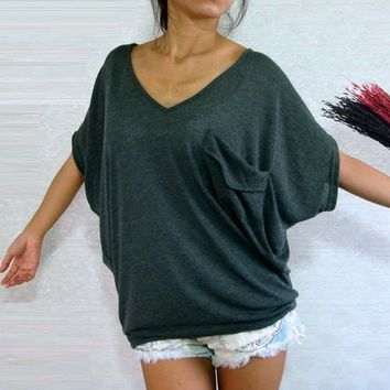 Sexy Women V neck Gray Oversized Tops Batwing Pockets T Shirt | Unique Cute Clothes, Fun Casual Wear For All Seasons