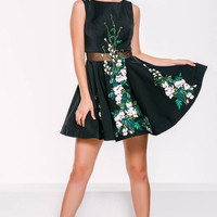 Black Floral Applique Homecoming Dress 45520