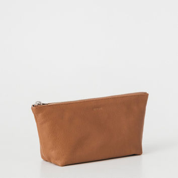Small Leather Cosmetic Pouch Saddle
