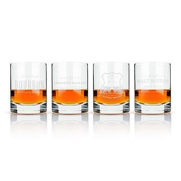 Admiral Etched Whiskey Label Crystal Tumblers