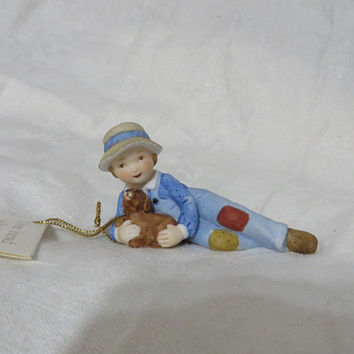 Vintage 80s Holly Hobbie Country Boy Dog Knick Knack Collectible Figurine Ceramic Bisque