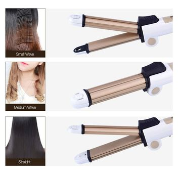 3 In 1 Multifunction Hair Straightener Hair Curler Corn Plate Curler Ceramic Coating Foldable Hair Curling Iron Hair Styler P00
