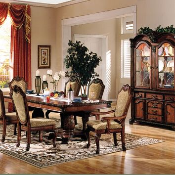 Acme 04075-4077 7 pc chateau de ville cherry finish wood double pedestal dining table set